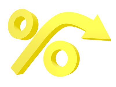Gold percent sign with downward arrow isolated on white background